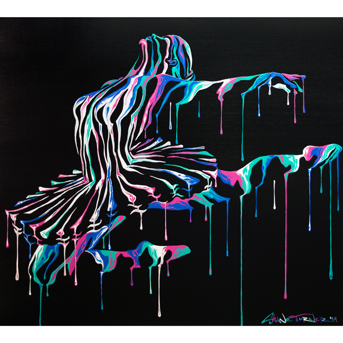 Music In Motion 2 by Shane Turner. Pop art colorful acrylic painting of a dripping ballet dancer ballerina dancing. Wearing a ballet tutu made out of negative space and colorful paint drips.