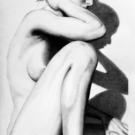 Into the Light 2.0 pointillism drawing by Shane Turner. Woman sitting with arm on knee and hand in hair. Made of stippling ink dots.