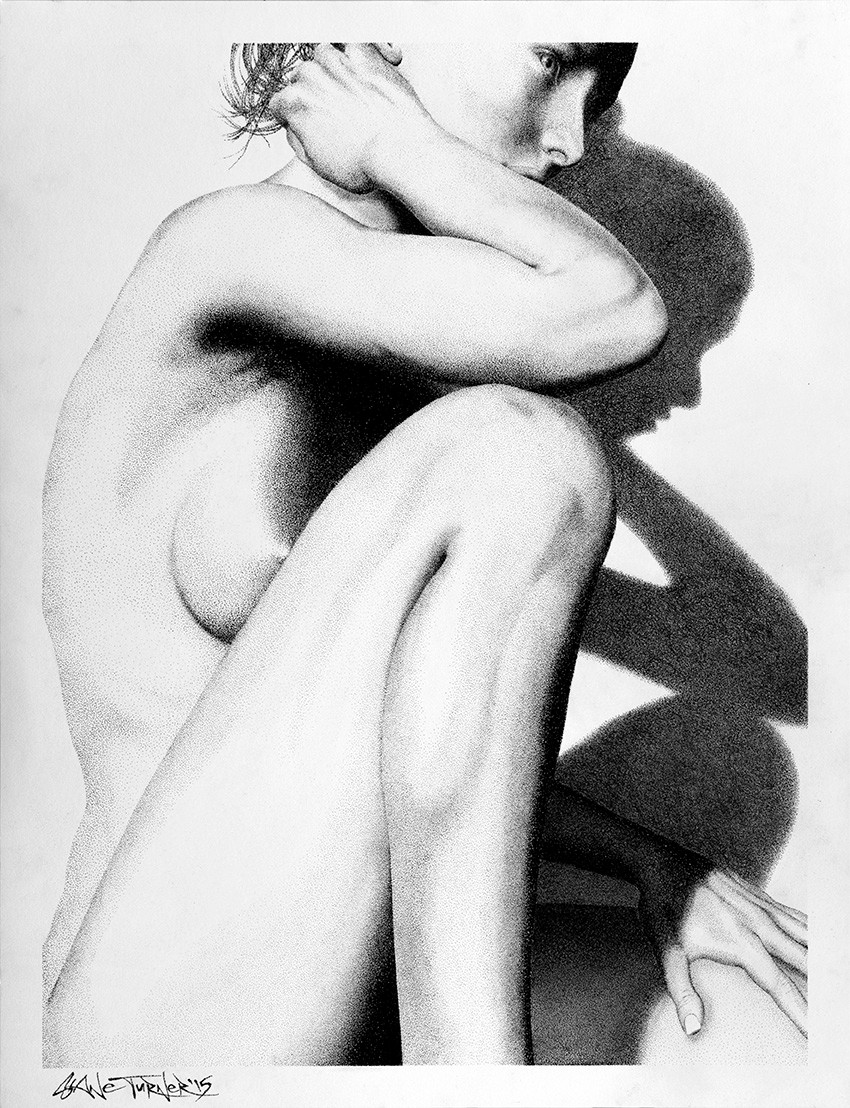 Into the light 2 by Shane Turner. D rawing is a portrait of a nude woman with her arms resting on her thigh and knee. Created entirely out of ink dots in the pointillism style.