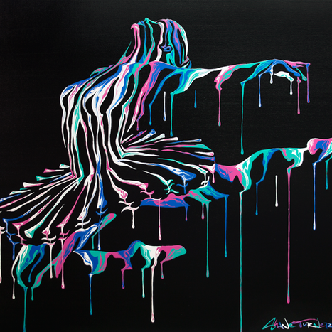 Music In Motion 2 painting by Shane Turner. Ballerina Dancer Jumping made of dripping colorful paint on dark background. Acrylic painting on Canvas.