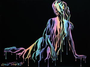 Psychameleon XIII painting by Shane Turner. Image of posing Woman in a seated position leaning on hand and legs to the side, made of dripping colorful rainbow pastel paint on a black background. Surreal Acrylic painting on Canvas.