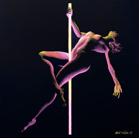 Moving in the Dark by Shane Turner. Drawing of woman doing pole dance acrobatics with pole as light source. Neon lighting from center lighting the figure. Drawn with pointillism stippling technique.