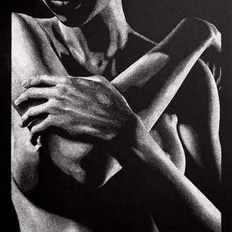 Out of the Shadows 3.0 stippling drawing by Shane Turner. Image of semi nude female figure with arms crossed over chest.