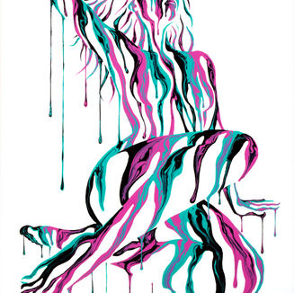 Psychameleon XIX acrylic painting by Shane Turner. Image of woman reclining with hand above head and floor made from dripping pink, turquoise and black paint on body.