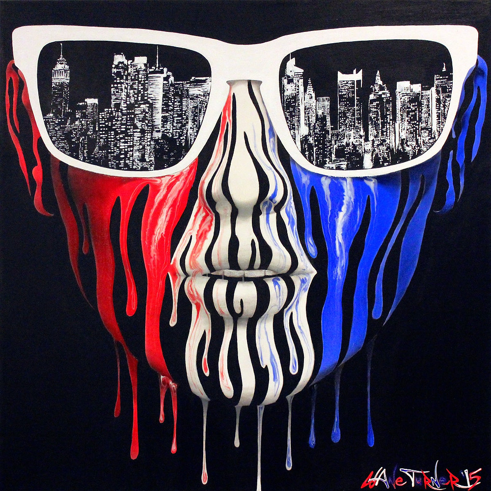 City of Blinding Lights 3.1 Red White and blue dripping paint face wearing oakley sunglasses with reflection of New York City skyline in lenses.