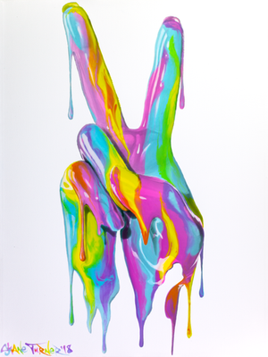 Peace at Hand, acrylic painting of colorful Peace Sign by Shane Turner