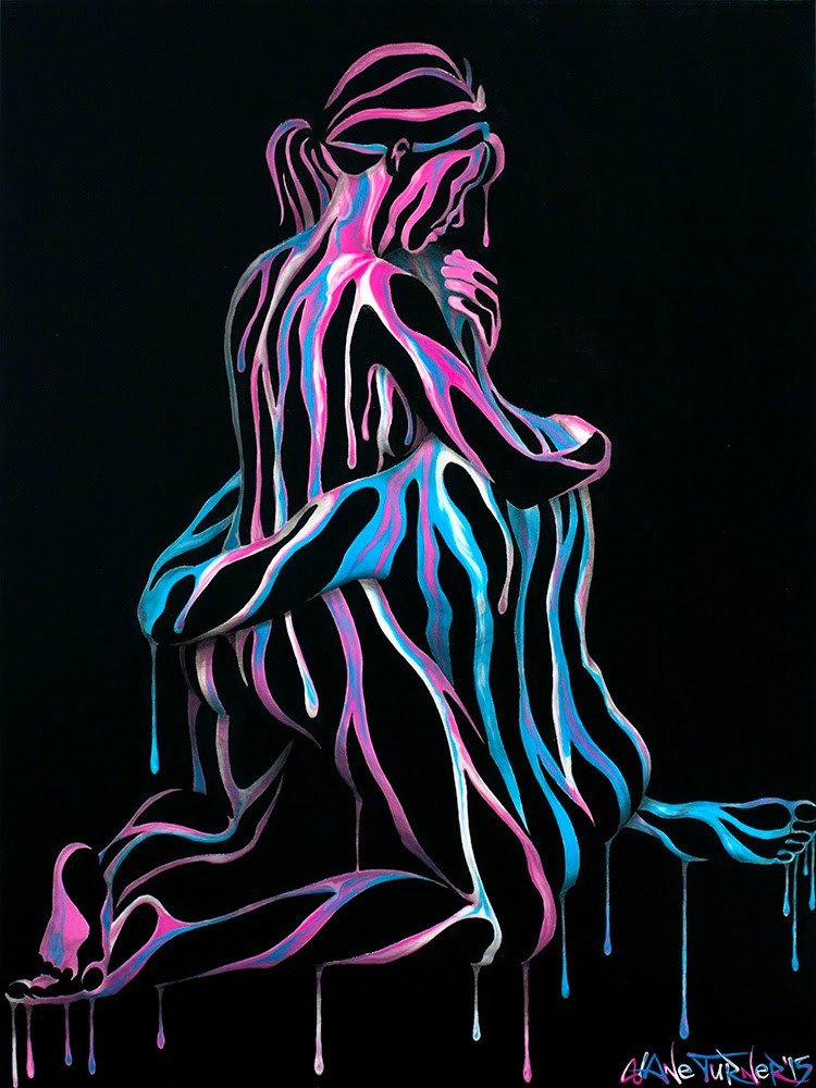 Picture of Right Here In My Arms  Colorful surreal painting of a girl and guy holding each other, with figures created of dripping paint and negative space. by Canadian artist Shane Turner.