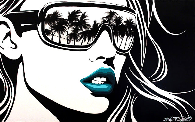 Big City Nights (L.A Woman RMX) Shane Turner. Painting of black and white pop art style portrait of woman wearing sunglasses with reflection of Los Angeles beach scene in lenses, turquoise lips and windswept hair. Painting by Canadian artist Shane Turner.