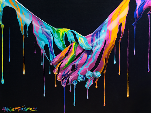 Take My Hand painting by Shane Turner. Holding hands made with dripping neon paint on black background.