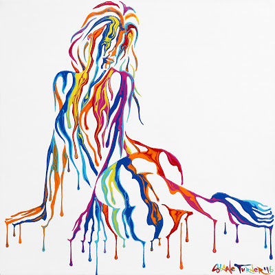Psychameleon Just Chillin' 2.0 by Shane Turner. Surreal painting nude invisible woman seated resting on side amde of rainbow dripping paint.