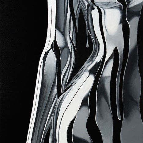 Argentum 2.0 painting by Shane Turner. Woman standing with arm at her side made of chrome silver reflective metallic dripping paint over her body on dark background. Acrylic painting on Canvas.