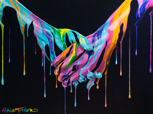 Take My Hand by Shane Turner. Pop art colorful acrylic painting of dripping lovers' holding hands. Painting is of just holding hands made out of negative space and neon paint drips.