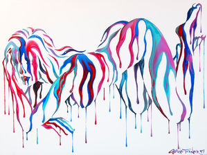 Psychameleon 8.0 acrylic painting of nude woman laying forward. Colorful paint dripping by Shane Turner Art.