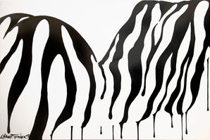 Zebra 2.0 painting by Shane Turner. Abstract nude female figure laying forward out of black dripping paint on white background.