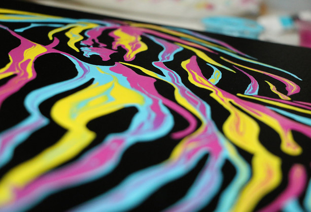 Close up detailed shot of Psychameleon 4.0 by Shane Turner. Neon dripping paint on black canvas.