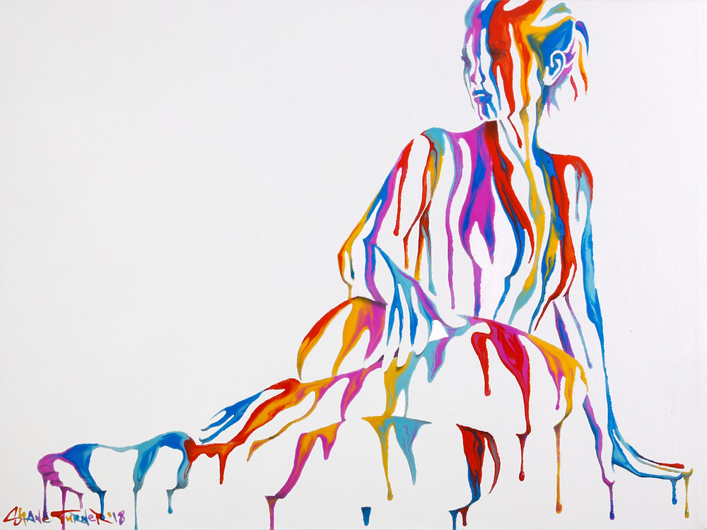 Psychameleon 9.0 by Shane Turner. Painting of a reclining nude female figure made out of dripping colorful paintand negative space. Primarye acrylic colors on white background.