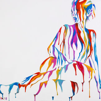 Psychameleon 9.0 painting by Shane Turner Art. Female sitting laying on side with hand on leg made of dripping colorful paint.