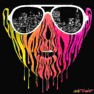 City of Blinding Lights 2.0 by Shane Turner. Acrylic painting of a woman's face made of dripping colorful neon acrylic paint, wearing sunglasses with the reflection of San Francisco skyline made of glowing lights. Album cover for California based band Citabria was made using this painting.