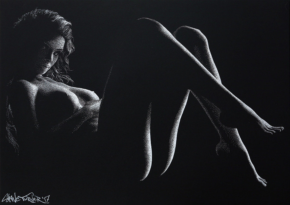 Out of the Shadows 6.0 by Shane Turner. Pointillism dot drawing of artistic nude bodyscape. Laying female figure in black and white created out of dimensional light and negative space. Female figure in white ink on black paper.
