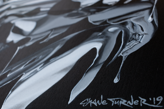 Close up of hands on 'Sitting, Waiting, Wishing (Argentum)' painting by Shane Turner Art