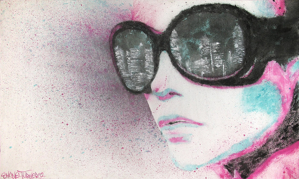 Midnight City by Shane Turner. Pop art and street ar Montreal  Midnight city painting of a girl wearing sunglasses with the reflection of skyline in her glasses. Created using spattered turquoise, pink, and black paint on white textured background.