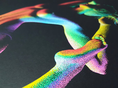 Moving in the Dark 4 by Shane Turner Art.  Rainbow yoga painting. Close up details of pointillism techniques.