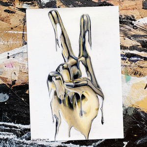 Shane Turner Art painting ink of Midas Touch (Peace)' Ink and coloured pencil on A6 postcard (10.5cm x14.8cm) 4th piece from the recent ArtonaPostcard auction. Peace sign hand signal made out of dripping liquid gold paint reflecting lights.