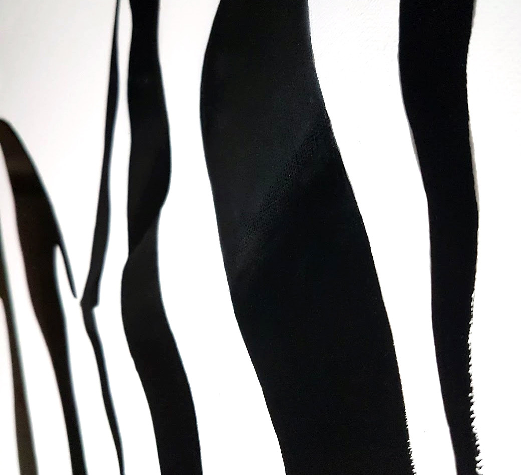Close up of dripping paint on Zebra 2.0 by Shane Turner Art acrylic painting.
