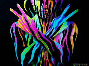 Waiting on the World to Change by Shane Turner. Painting of woman with eyes closed holding up two peace signs. Dripping colorful paint on black background.