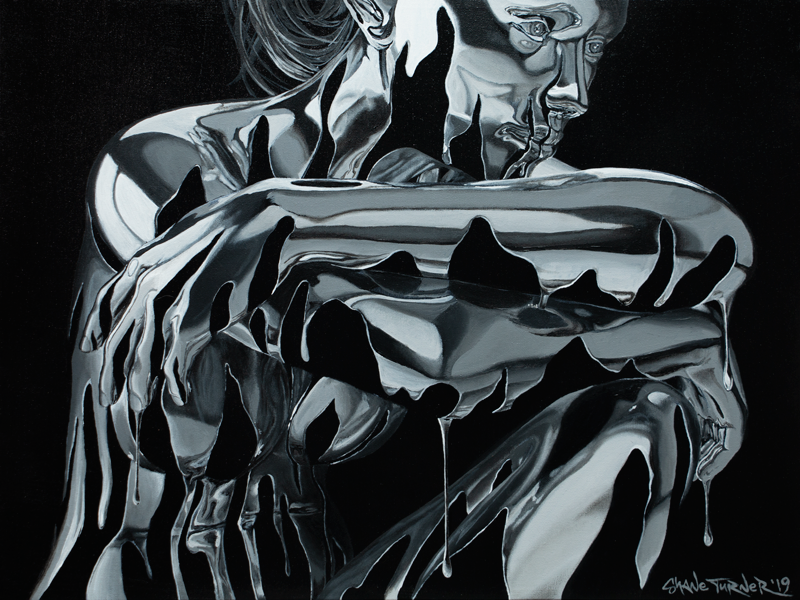 Sitting, Waiting, Wishing (Argentum) painting by Shane Turner. Image of woman made of dripping silver chrome paint sitting and thinking with arms resting on her knee. Acrylic painting on canvas.