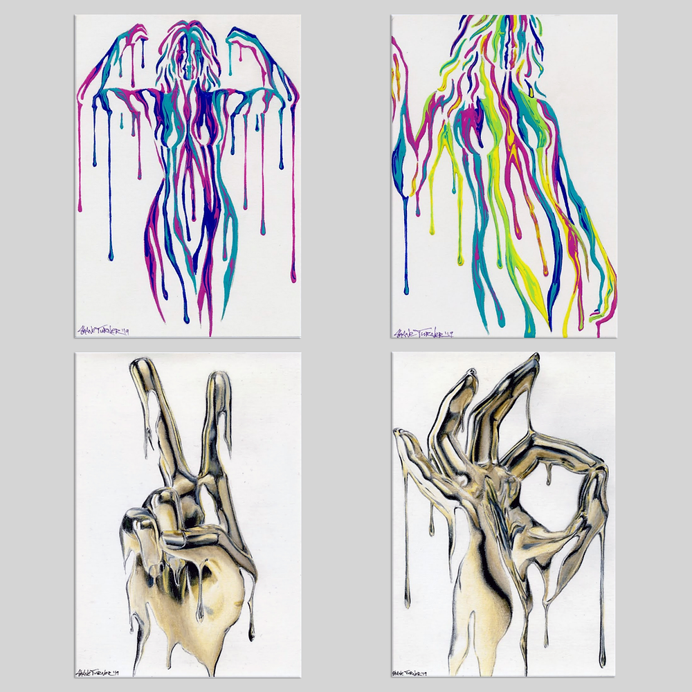 Paintings for Art on a Postcard by Shane Turner. 4 A4 postcard size artworks for the art on a postcard charity auction of 2019. 2 Psychameleon dripping colour paintings and 2 Midas touch gold style paintings.
