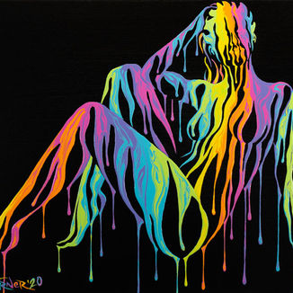 Psychameleon XV (BLK RMX) painting by Shane Turner. Image of posing Woman in a seated position leaning on hand and legs to the side, made of dripping colorful rainbow paint on a black background. Surreal Acrylic painting on Canvas.