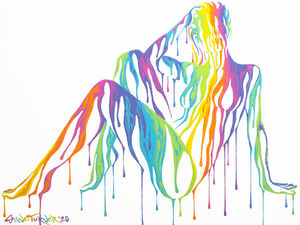 Psychameleon XV painting by Shane Turner. Image of posing Woman in a seated position leaning on hand and legs to the side, made of dripping colorful rainbow paint on a white background. Surreal Acrylic painting on Canvas.
