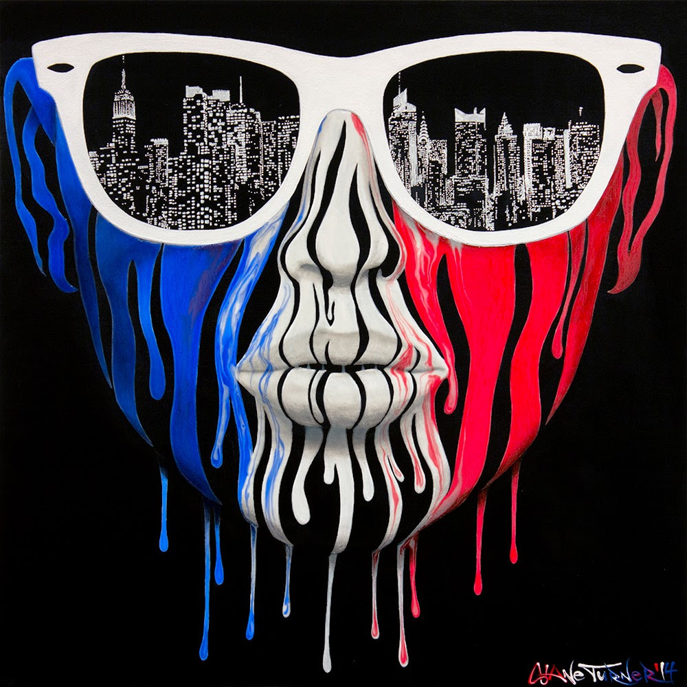 City of Blinding Lights 3.0 by Shane Turner. Surreal Urban pop art painting of a girls face made of dripping red white and blue paint, wearing white ray ban wayfarer sunglasses with the reflection of New York city skyline in the lenses. Painted in acrylics in the colors of the american flag.