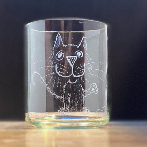 Etched cut wine glass shorty
