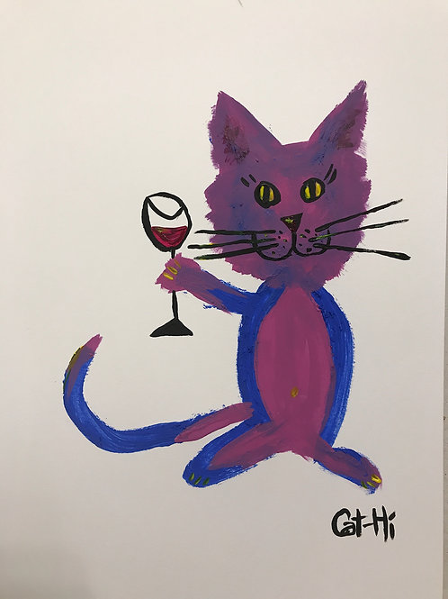 Happycat Loves Wine