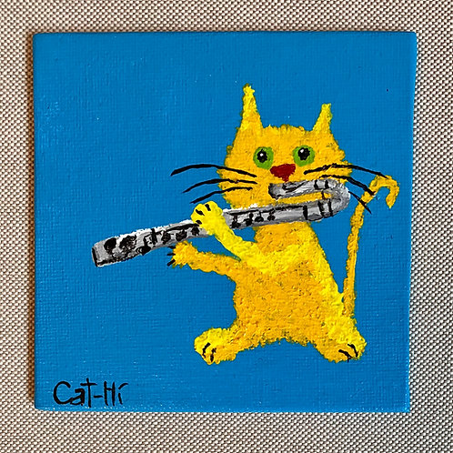 Small Cat-Hi flat canvas painting