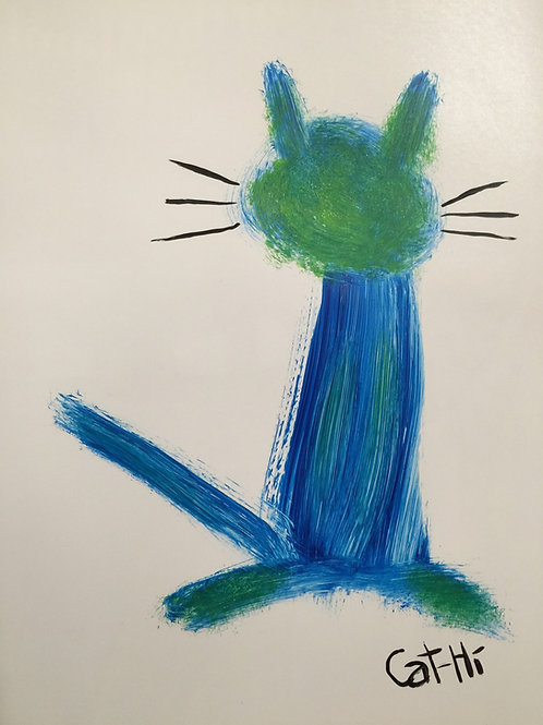 Abstract Cat in Blue and Green- print