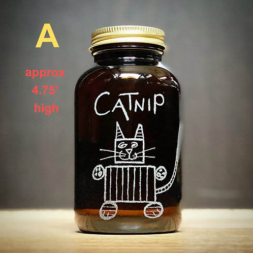 Etched Catnip Jars