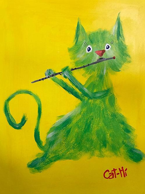 Sweet Green Flute Cat - Print
