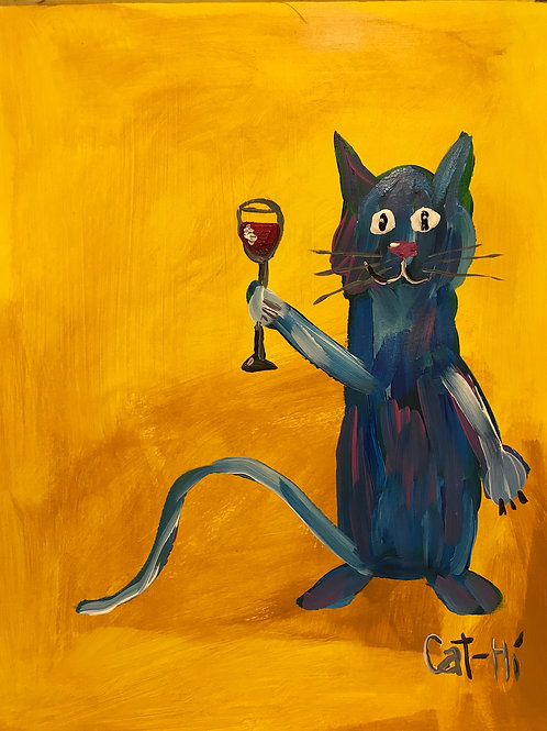 Wine O'Clock Cat - print