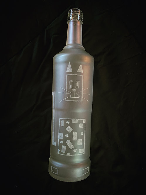 Etched Liquor Bottle Lamp