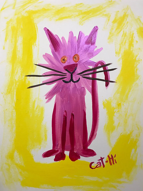 Pink Cat in a Yellow World- print