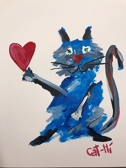 Blue Cat Loves You - Print