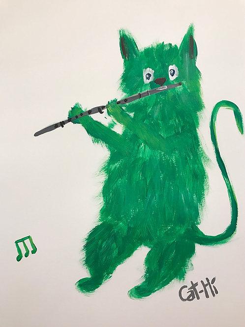Fuzzy Flute Feline - print