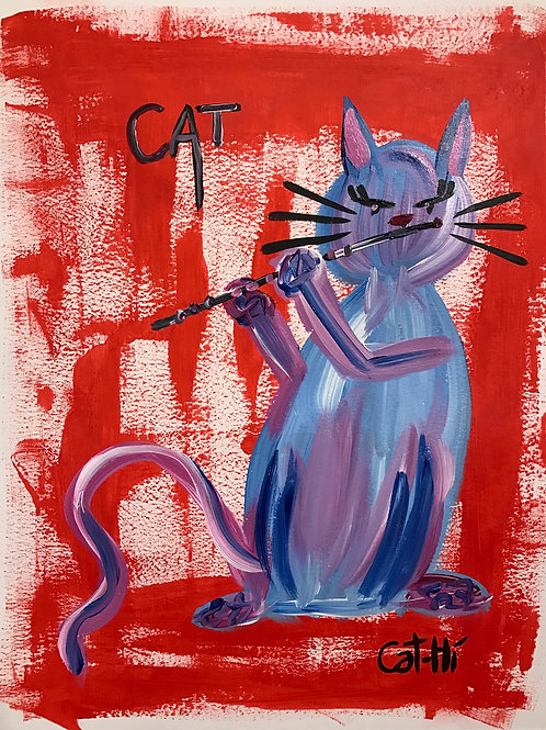 Purpley Flute Cat - Print