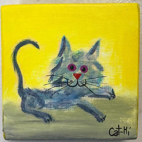 Mini Cat-Hi Painting on wood