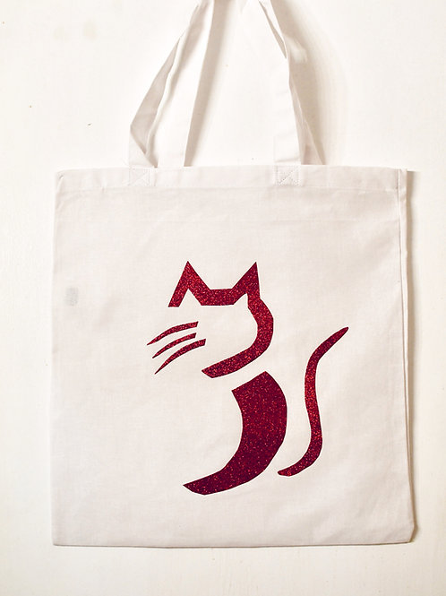 Cat-Hi glittery tote bag