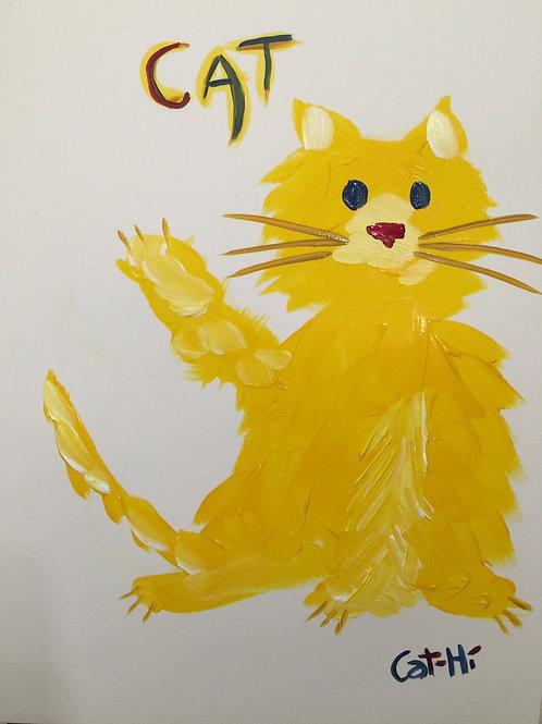 Hello Yellow Cat- print