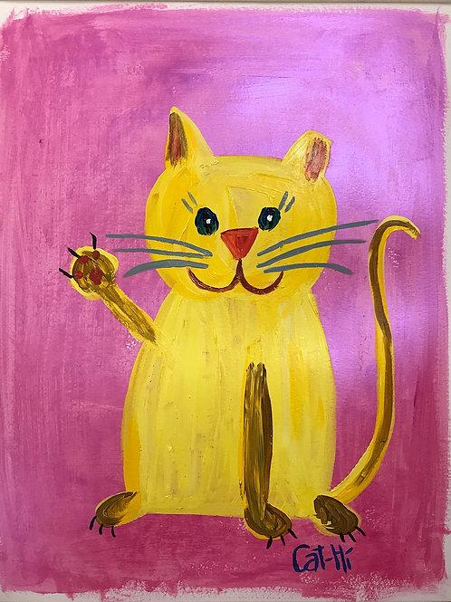 Yellow Cat Waving